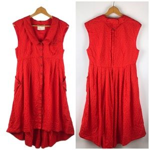 Anthropologie Postage Stamp Red Button Up Dress 8